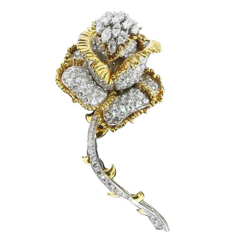 Impressive 11 Carat Brilliant Diamonds Gold Rose Flower Pin Brooch
