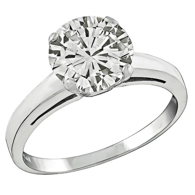 Classic 2.01 Carat Diamond Platinum Solitaire Engagement Ring