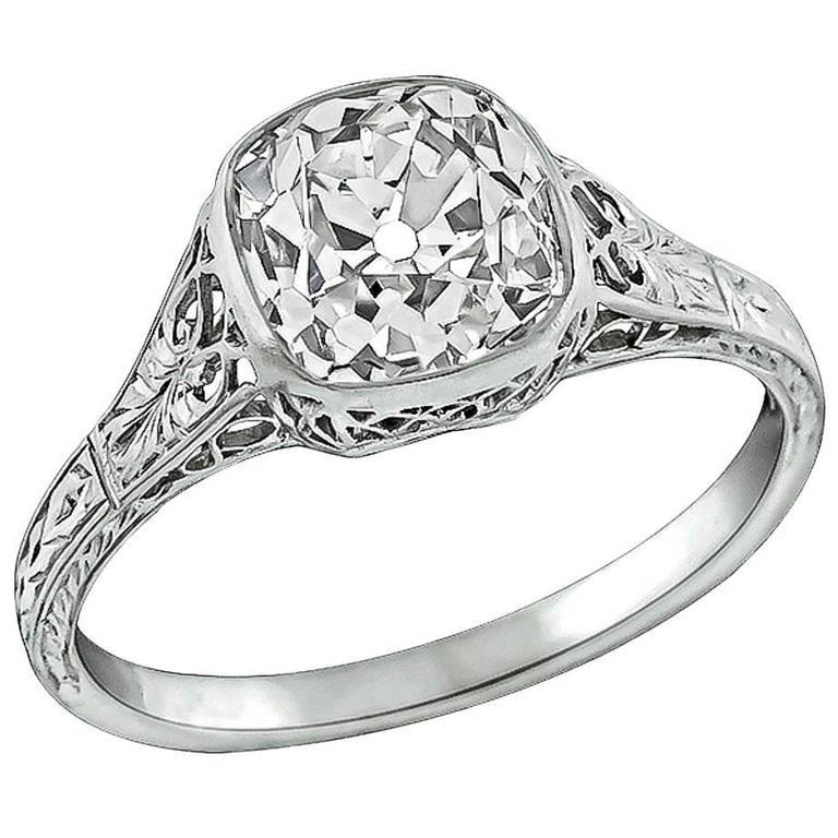 2.09 Carat Old Mine Brilliant Diamond Platinum Engagement Ring