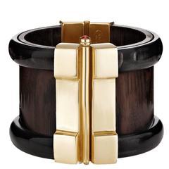 Fouche Horn Ebony Ruby Cuff Bracelet
