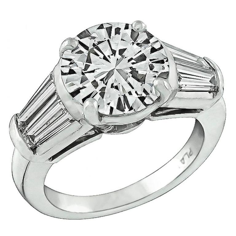 Stunning 2.36 Carat GIA Cert Diamond Platinum Engagement Ring