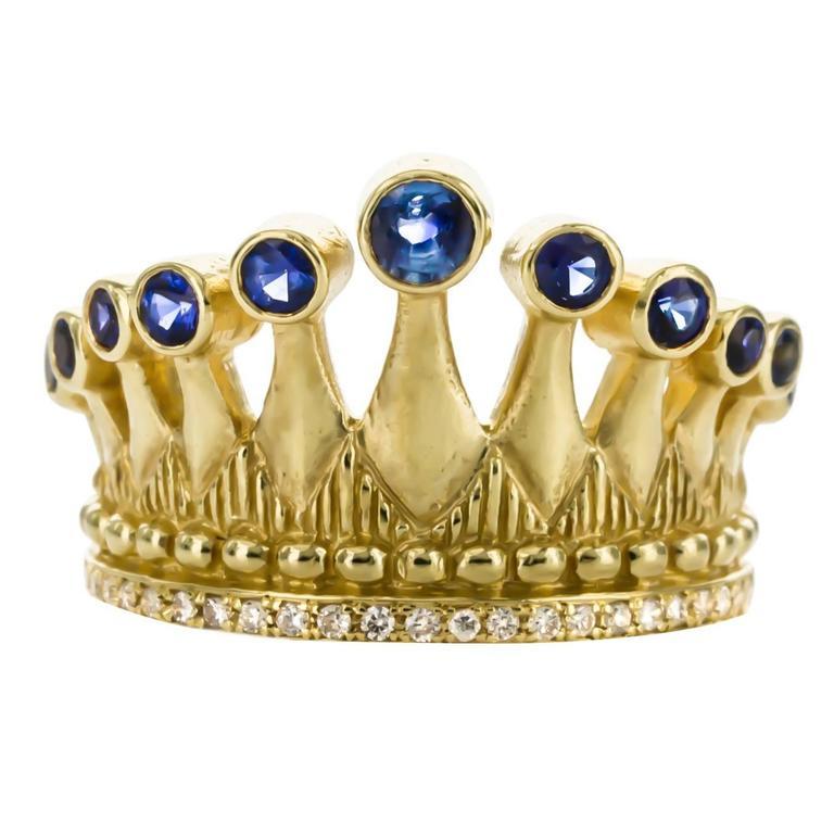 Cynthia Bach Sapphire Diamond Gold Crown Ring 1