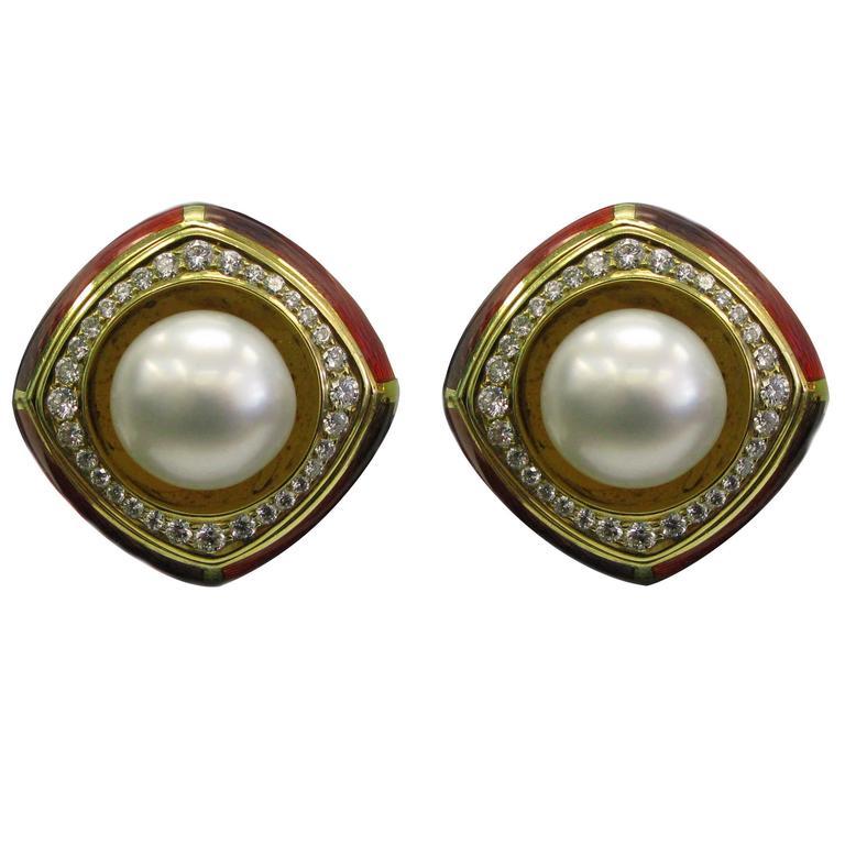 De Vroomen Enamel Pearl Diamond Gold Ear Clips