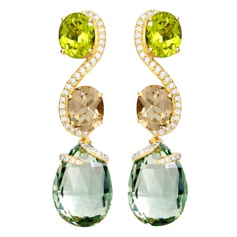 Shanghai Peridot Smoky Quartz Prasiolite Diamond Gold Earrings 1