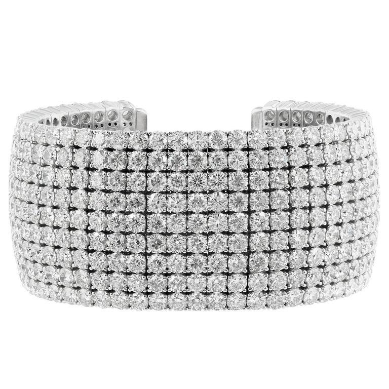 58.31 Carat Diamonds Gold Cuff Bracelet