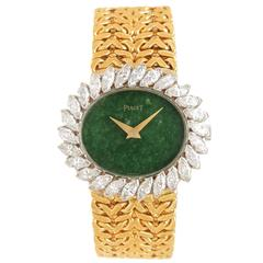Piaget Lady's Yellow Gold Diamond Stone Dial Manual Wind Wristwatch