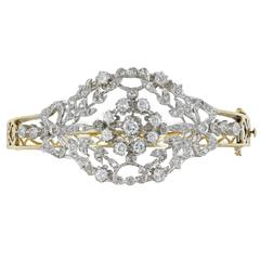 Diamond Two Color Gold Hinged Bangle Bracelet