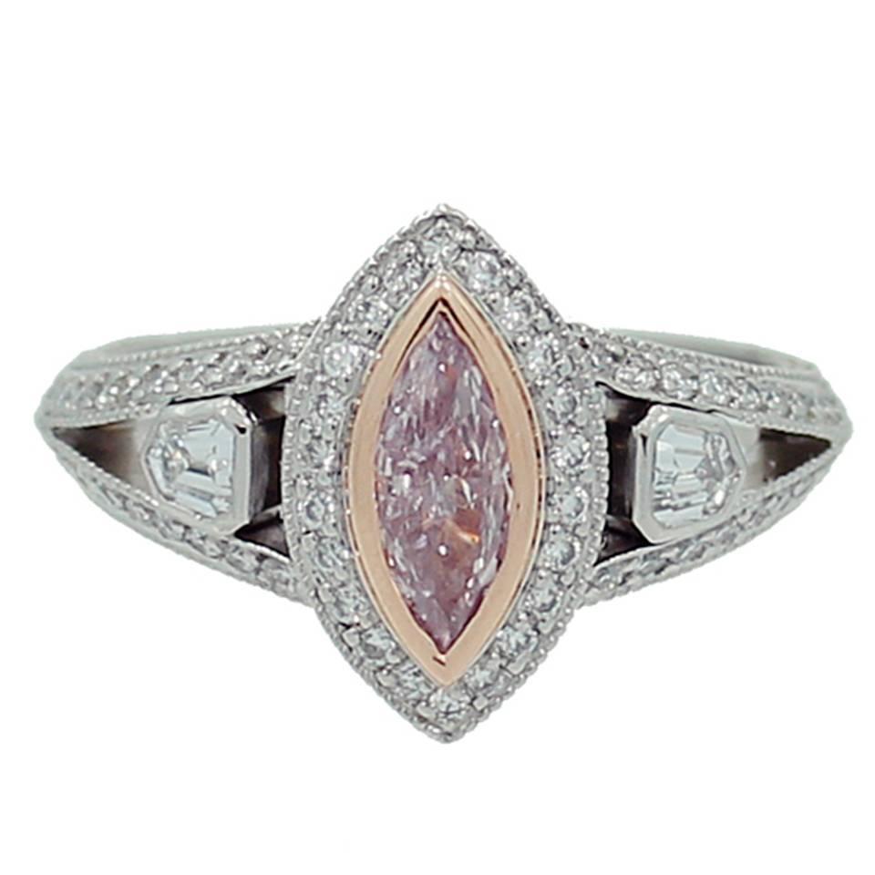 Fancy Purplish Pink Diamond Platinum Ring For Sale at 1stdibs
