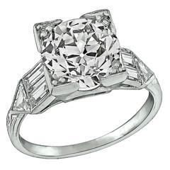 Impressive Art Deco 2.65 Carat Diamond Platinum Engagement Ring