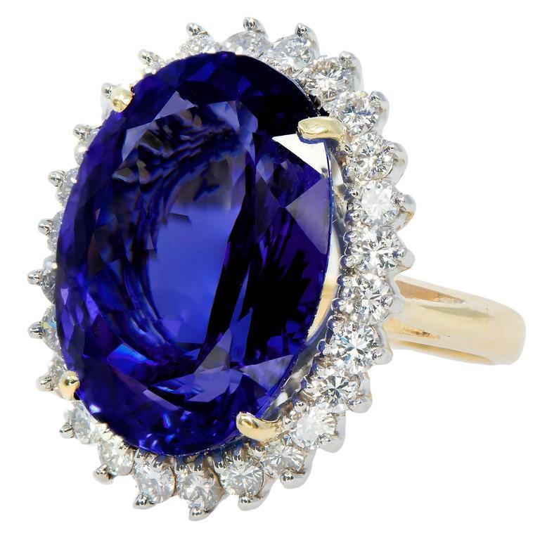 Oval Tanzanite Diamond Gold Halo Ring For Sale