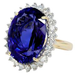Oval Tanzanite Diamond Gold Halo Ring