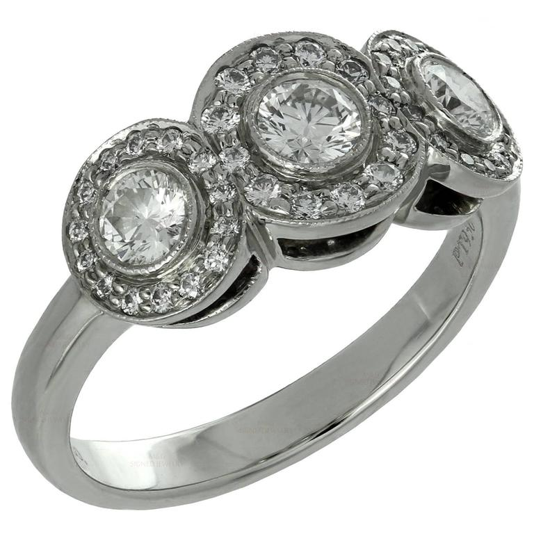 Tiffany & Co. Circlet Three Stone Diamond Platinum Ring