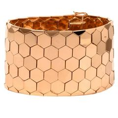 1950's Retro Honeycomb Gold Wide Bracelet