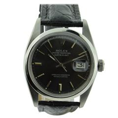 Rolex Stainless Steel Oyster Perpetual Charcoal Dial Datejust Wristwatch