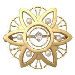 1890s Seed Pearl and Diamond, 14k Yellow Gold Brooch