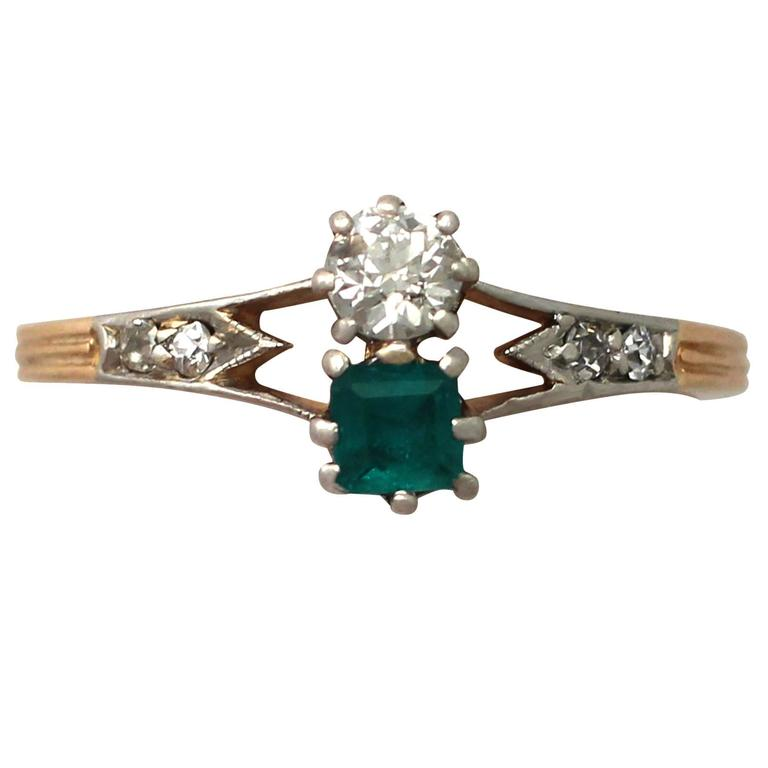 1920s Emerald and Diamond Yellow Gold Cocktail Ring
