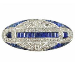 Art Deco Sapphire Diamond Platinum Plaque Brooch
