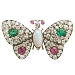 Antique Emerald Ruby Diamond Butterfly Brooch