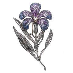 Large Enamel Sapphire Diamond Flower Brooch