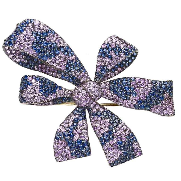 Shaded Sapphire Gold Bow Brooch
