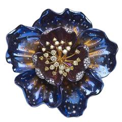 Diamond Gold Titanium Flower Brooch