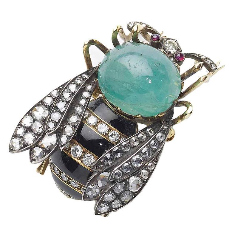 Small Enamel Ruby Emerald Diamond Bee Brooch