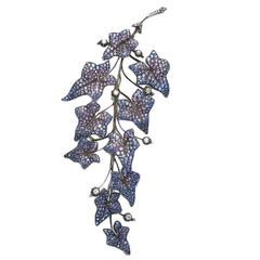 Shaded Sapphire Diamond Leaf Brooch