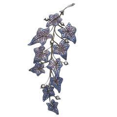 Shaded Sapphire Diamond Leaf Brooch