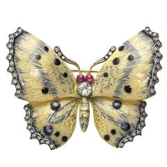 Cream and Blue Enamel Diamond Gold Butterfly Brooch