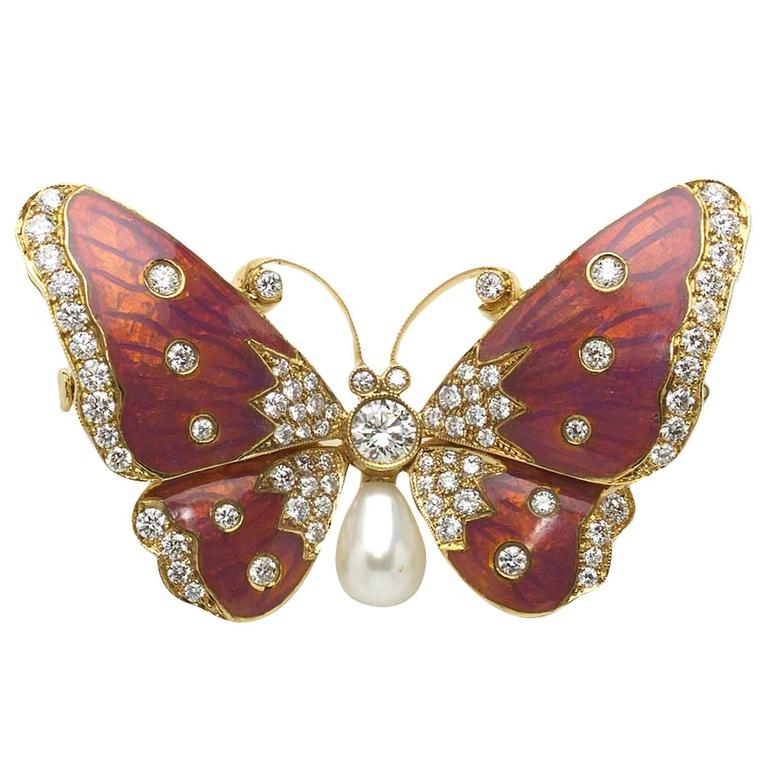 Pink Enamel Pearl Diamond Gold Butterfly Brooch  For Sale