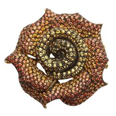 Orange to Yellow Sapphire Gold Rose Brooch