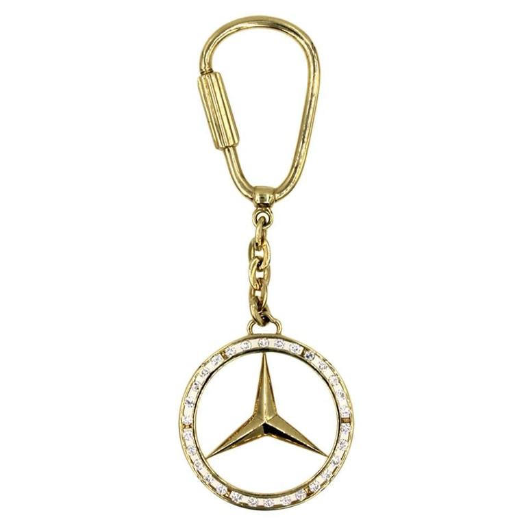 Mercedes emblem diamond gold key chain at 1stdibs for Mercedes benz chain