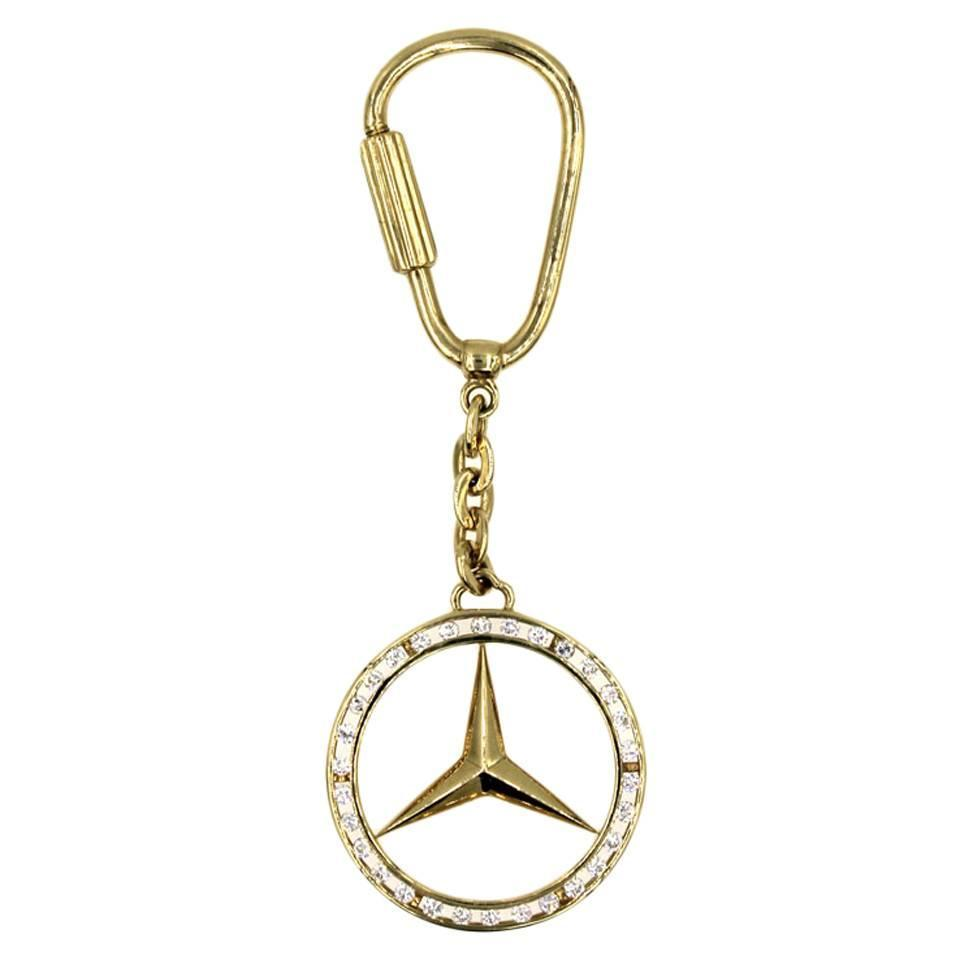 Mercedes emblem diamond gold key chain at 1stdibs for Mercedes benz earrings