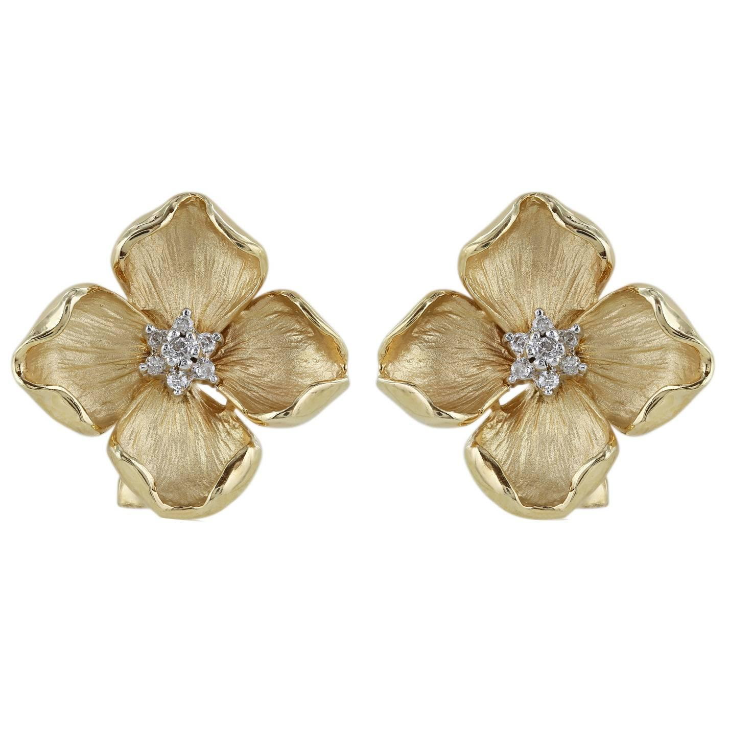 Diamond Gold Flower Earrings at 1stdibs