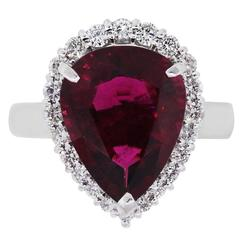 Pear Shape Rubellite Diamond Platinum Ring