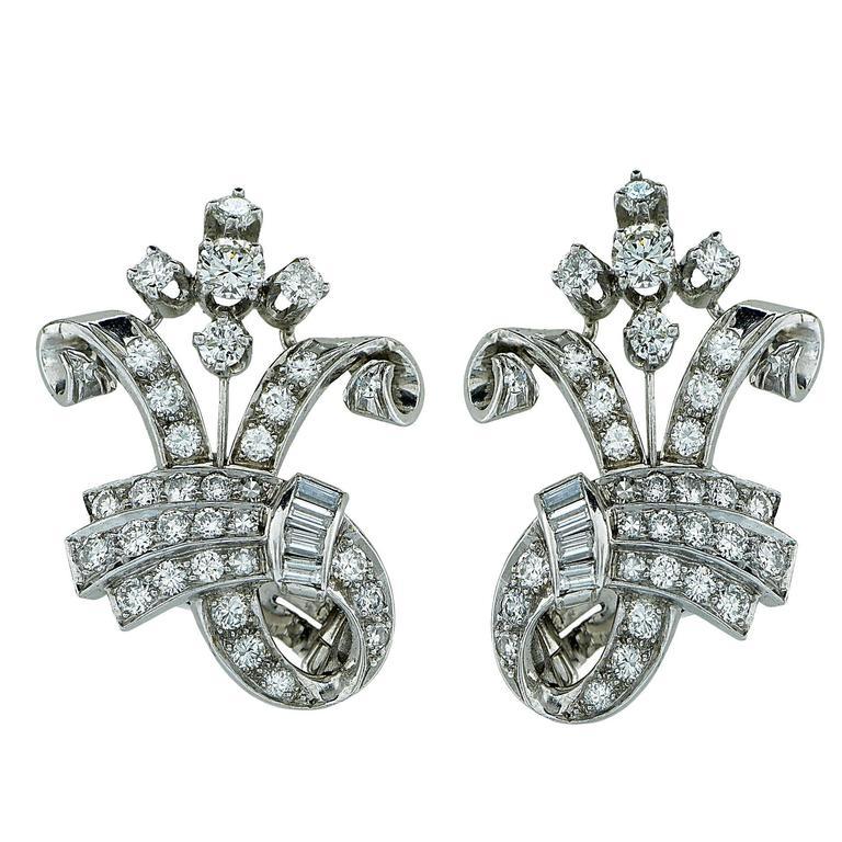 3 Carats Diamonds Platinum Earrings