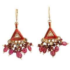 Exotic Enamel Ruby Spinel Gold Indian Dangle Earring