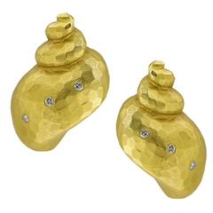 Diamond Gold Hammered Shell Earrings