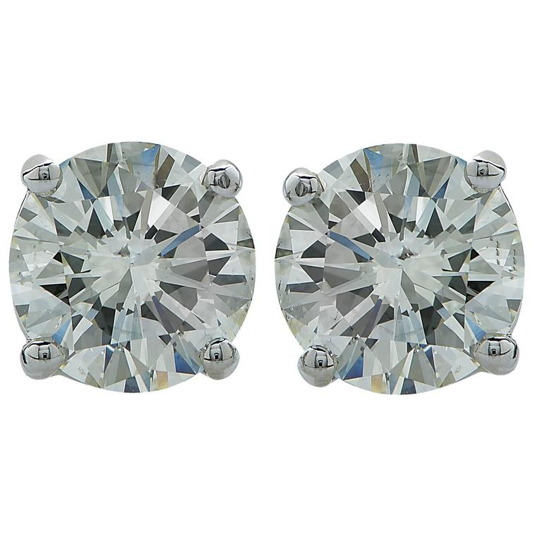 1.31 Carats Diamonds Gold Stud Earrings For Sale