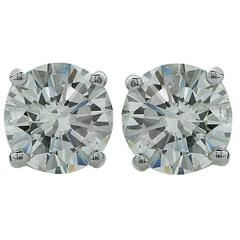 1.31 Carats Diamonds Gold Stud Earrings