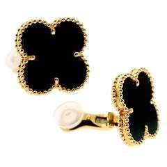 Van Cleef & Arpels Magic Alhambra Onyx Gold Earrings