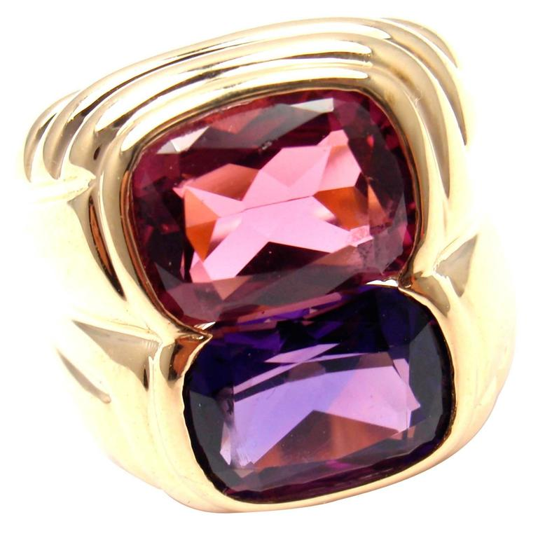 Bulgari Pink Tourmaline Amethyst Gold Ring