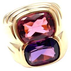 Bulgari Pink Tourmaline Amethyst Gold Ring
