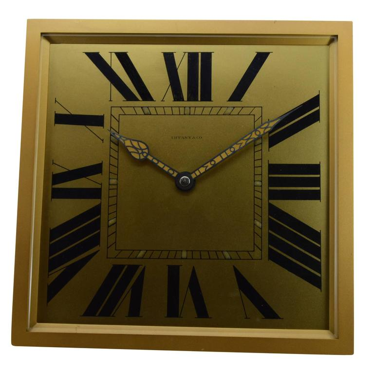 1920s Tiffany & Co. Brass and Gilt Art Deco Clock 2