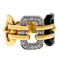 Chanel Onyx Diamond Gold Ring