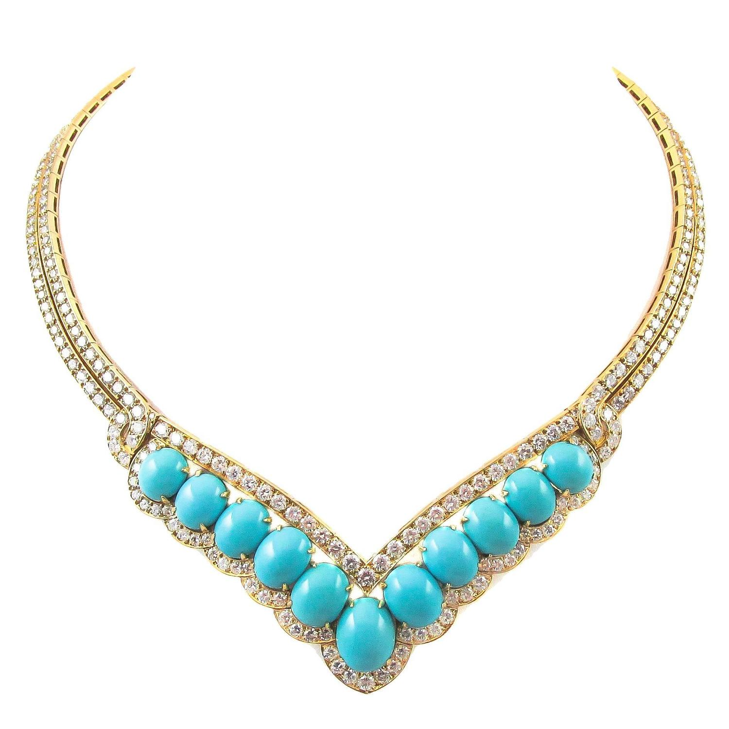superb 1970s van cleef and arpels paris turquoise diamond
