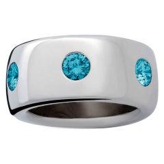 Colleen B. Rosenblat Blue Brilliant Cut Diamonds Gold Ring