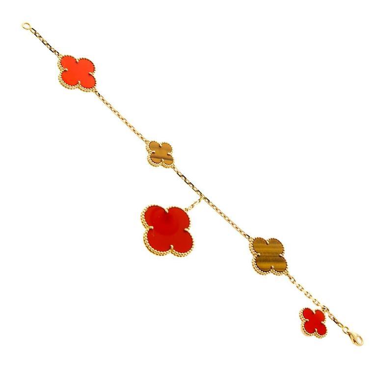 Van Cleef & Arpels Tiger Eye Carnelian Gold Bracelet