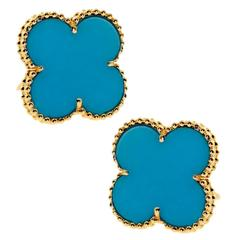 Van Cleef & Arpels Turquoise Gold Magic Alhambra Earrings