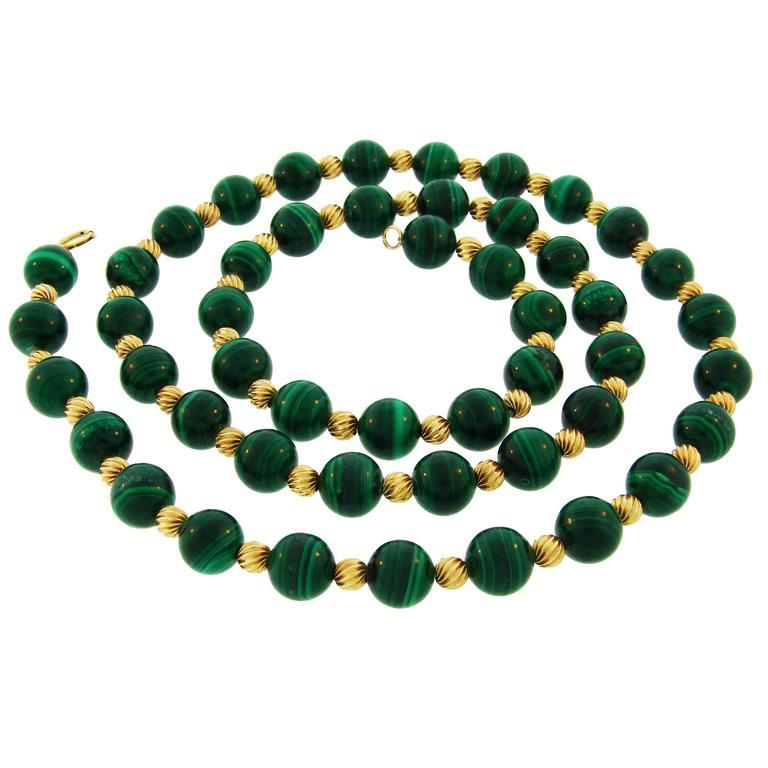 1970s Van Cleef & Arpels Malachite Gold Bead Necklace